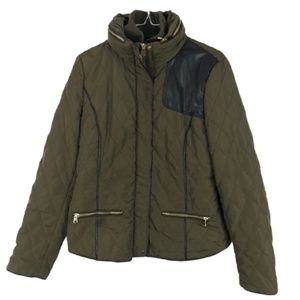 Zara Basic Quilted Jacket Army Green Black Large